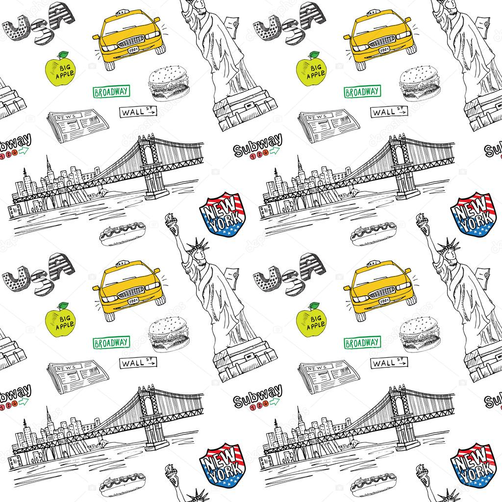 New York City Seamless Pattern With Hand Drawn Sketch Taxi Hotdog