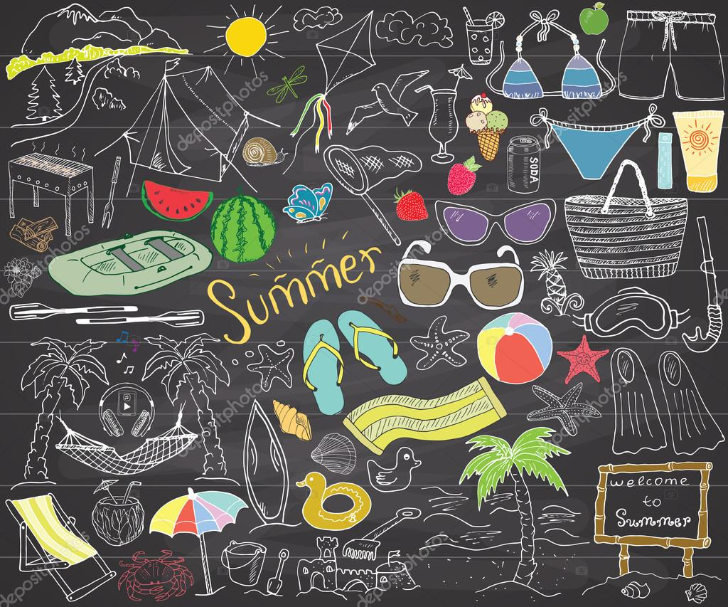 Summer season doodles elements. Hand drawn sketch set with sun, umbrella, sunglasses, palms and hammock, beach, camping items and mountains, tent and raft, grill, kite. Drawing doodle, on chalkboard