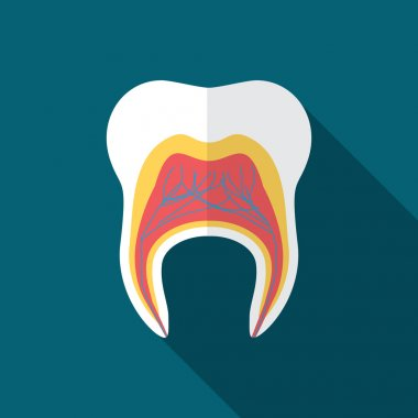 Flat design modern vector illustration of tooth icon with long shadow