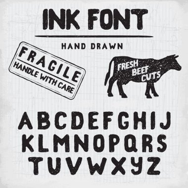 Hand Made Ink stamp font. Handwritten alphabet. Vintage retro textured hand drawn typeface with grunge effect, good for custom logo or emblrm. Vector illustration. on retro paper background