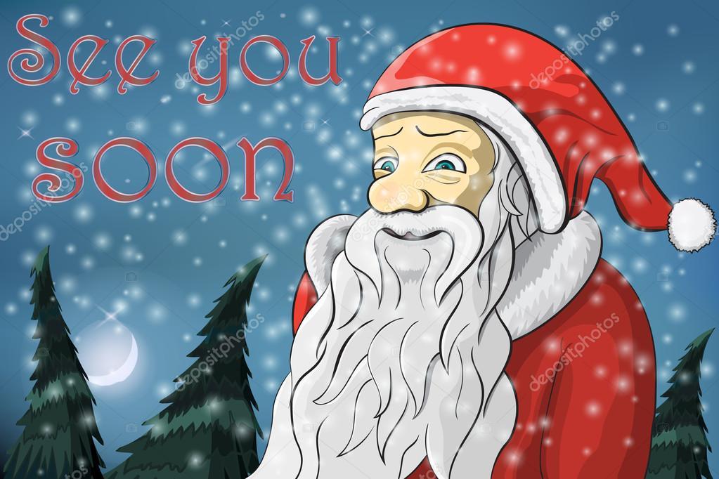 frohe weihnachten mond schnee weihnachtsmann text auf. Black Bedroom Furniture Sets. Home Design Ideas
