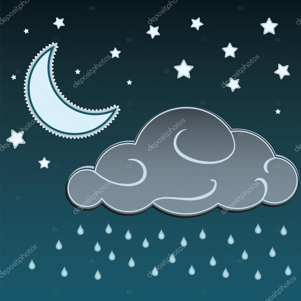 Cartoon Moon And Stars In The Night And Clouds With Rain Drops