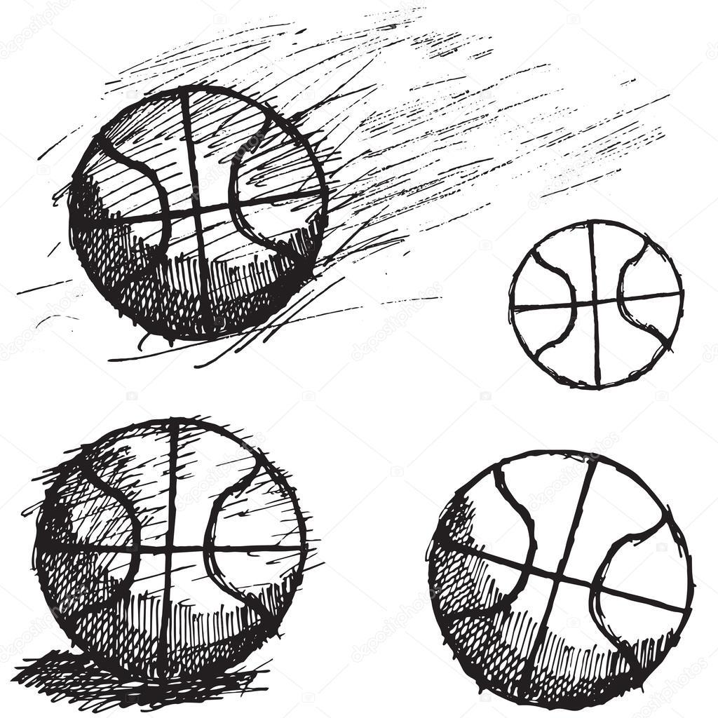 conjunto de desenho de bola de basquete isolado no fundo branco