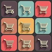 Fotografie nákupní košík ploché sady ikon na barvu stínu slábnutí