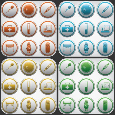 Pregnantcy flat icon buttons set in grey circles
