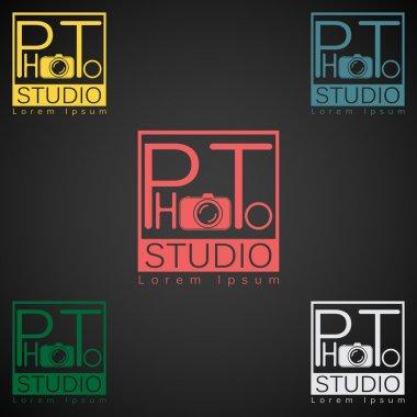 Photo studio logo mock up dark sample text