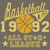 Fotografia Basket tutti stelle opera di lega, tipografia poster, t-shirt stampa, vector Badge Applique Label