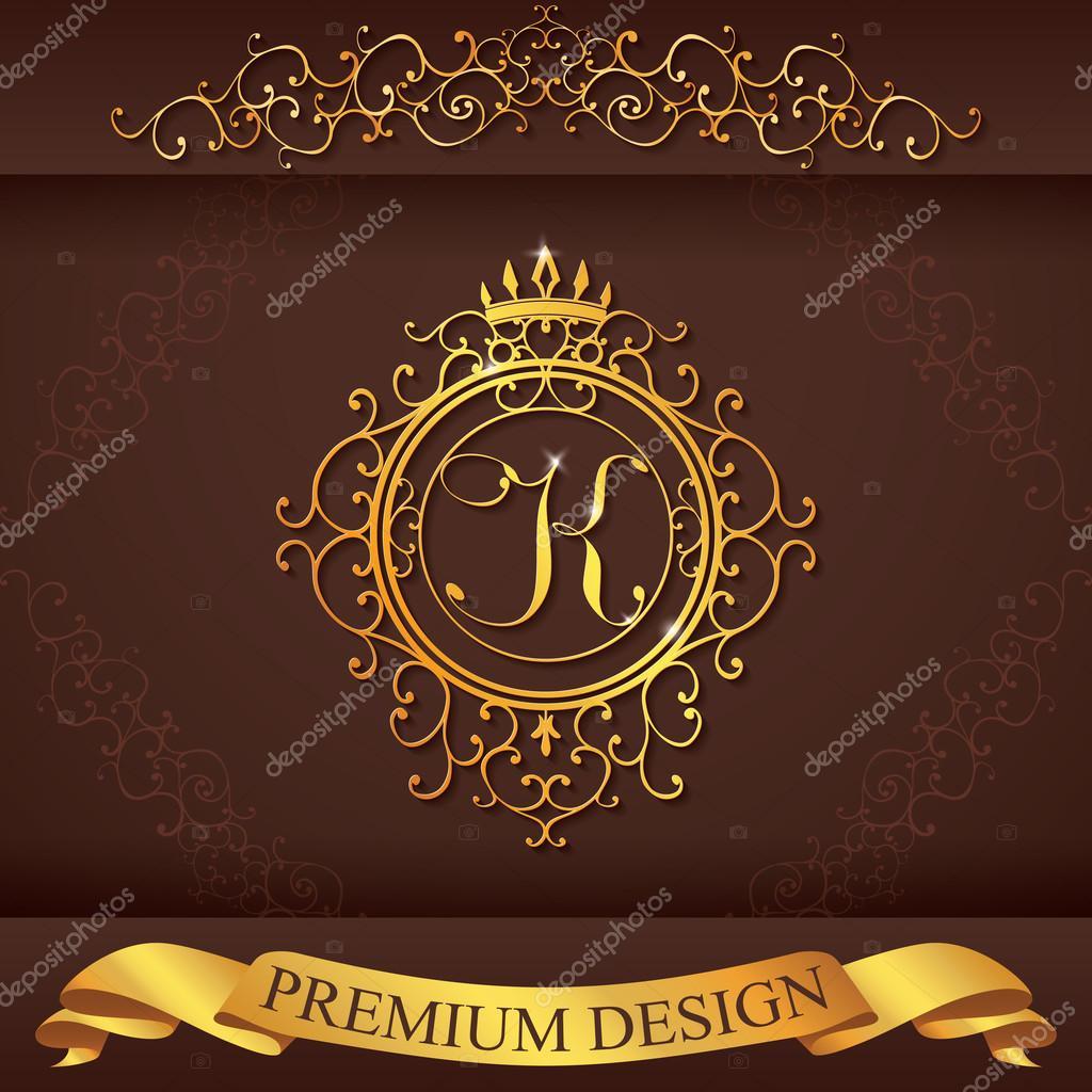 letter k luxury logo template flourishes calligraphic elegant