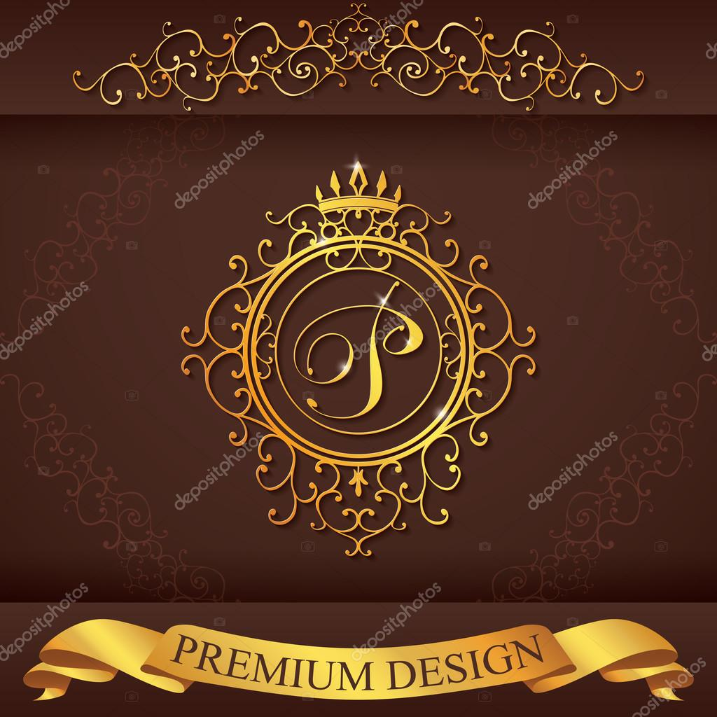Letter P. Luxury Logo template flourishes calligraphic elegant ornament lines. Business sign, identity for Restaurant, Royalty, Boutique, Hotel, Heraldic, Jewelry, Fashion, vector illustration