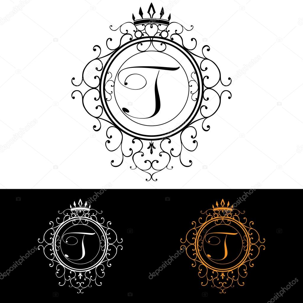 Letter T. Luxury Logo template flourishes calligraphic elegant ornament lines. Business sign, identity for Restaurant, Royalty, Boutique, Hotel, Heraldic, Jewelry, Fashion, vector illustration