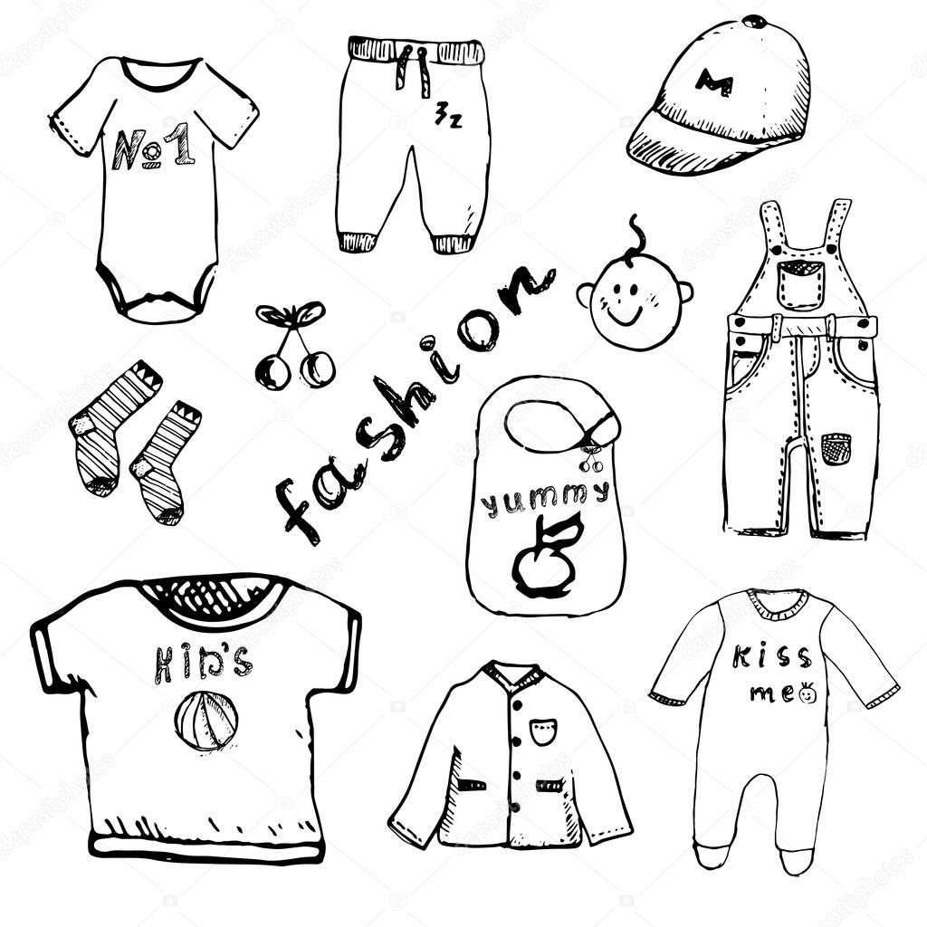 Clothes For Baby Boy Set Hand Drawn Sketch Isolated On White