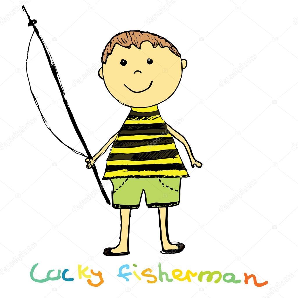 Niedliche Fischer Farbiger Boy Sketch Doodle Vector Art Illustration