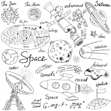 Space doodles icons set. Hand drawn sketch with Solar system, planets meteors and comats, Sun and Moon, radar, astronaut rocket and stars. vector illustration isolated background