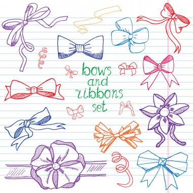 Hand drawn ribbons and bows set vector illustration. A collection of graphic ribbons and bows, design elements set
