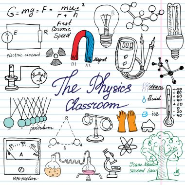 Physics and sciense elements doodles icons set. Hand drawn sketch with microscope, formulas, experiments equpment, analysis tools, magnet, pendulum, electricity, vector illustration on paper backgroun