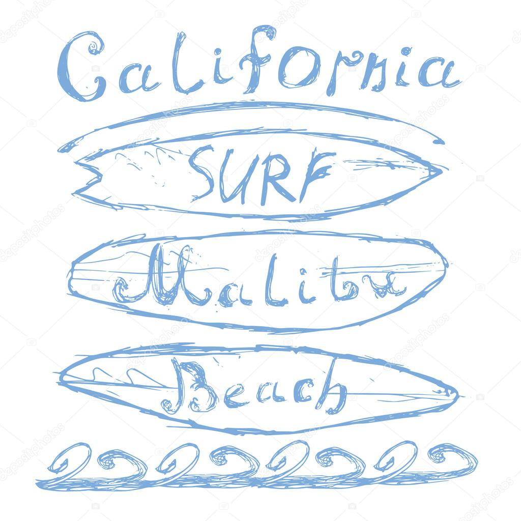 51f2a359 T-shirt Printing design, typography graphics Summer vector illustration  Badge Applique Label California Malibu beach surf sign.
