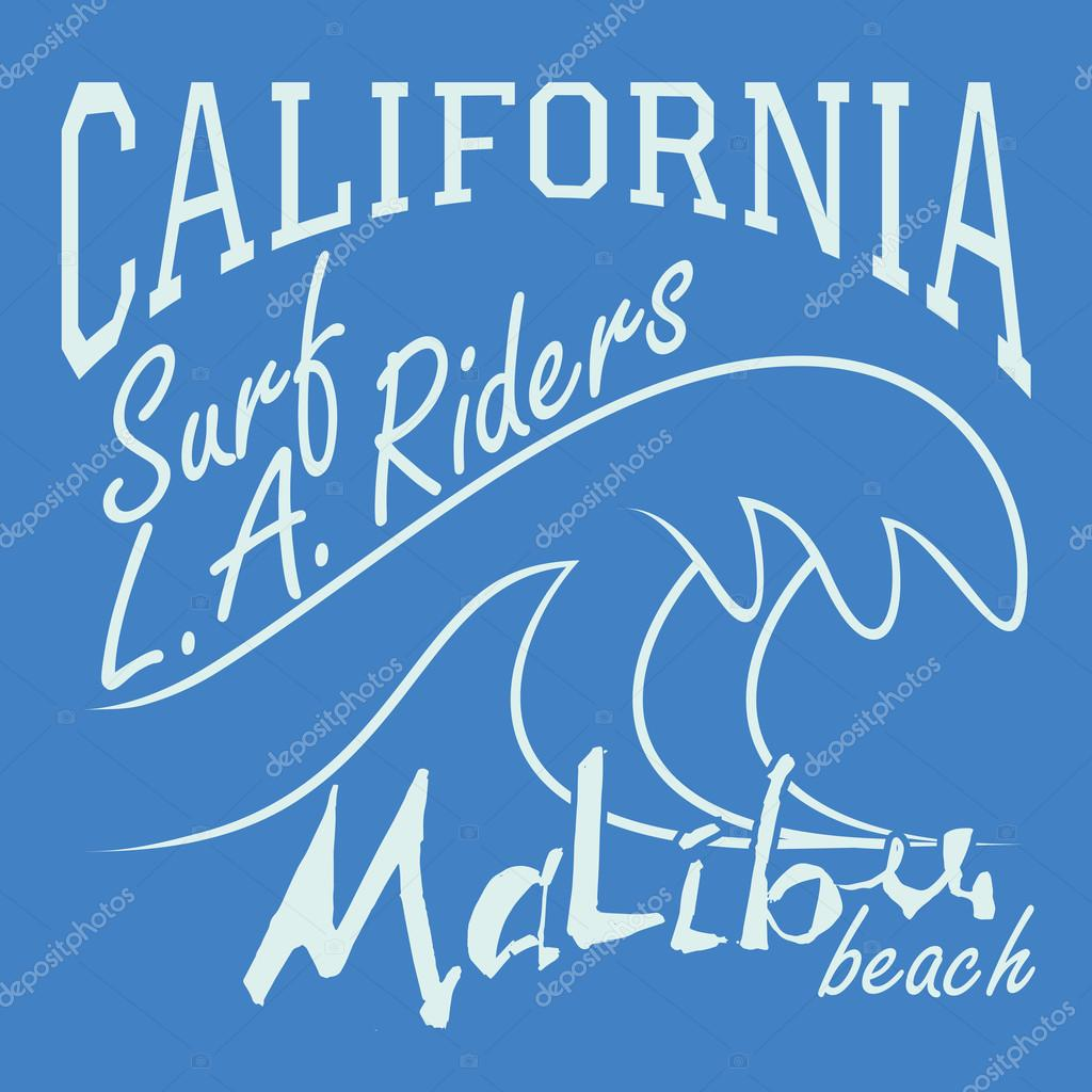 T-shirt Printing design, typography graphics Summer vector illustration Badge Applique Label California Malibu beach surf riders L.A. sign