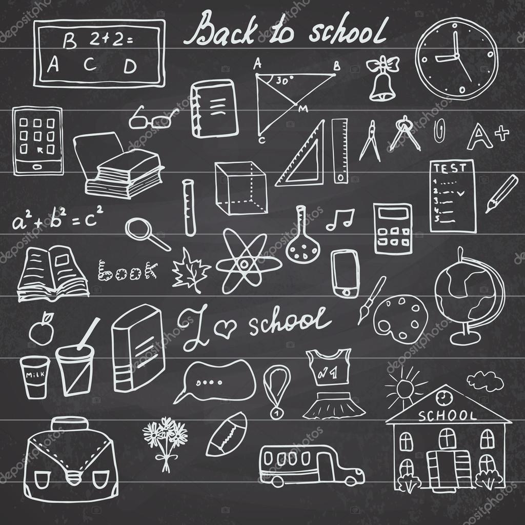 Back To School Supplies Sketchy Notebook Doodles Set With