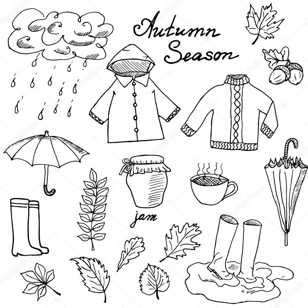 Herbstzeit setzt Kritzelelemente. Handgezeichnetes Set mit ...