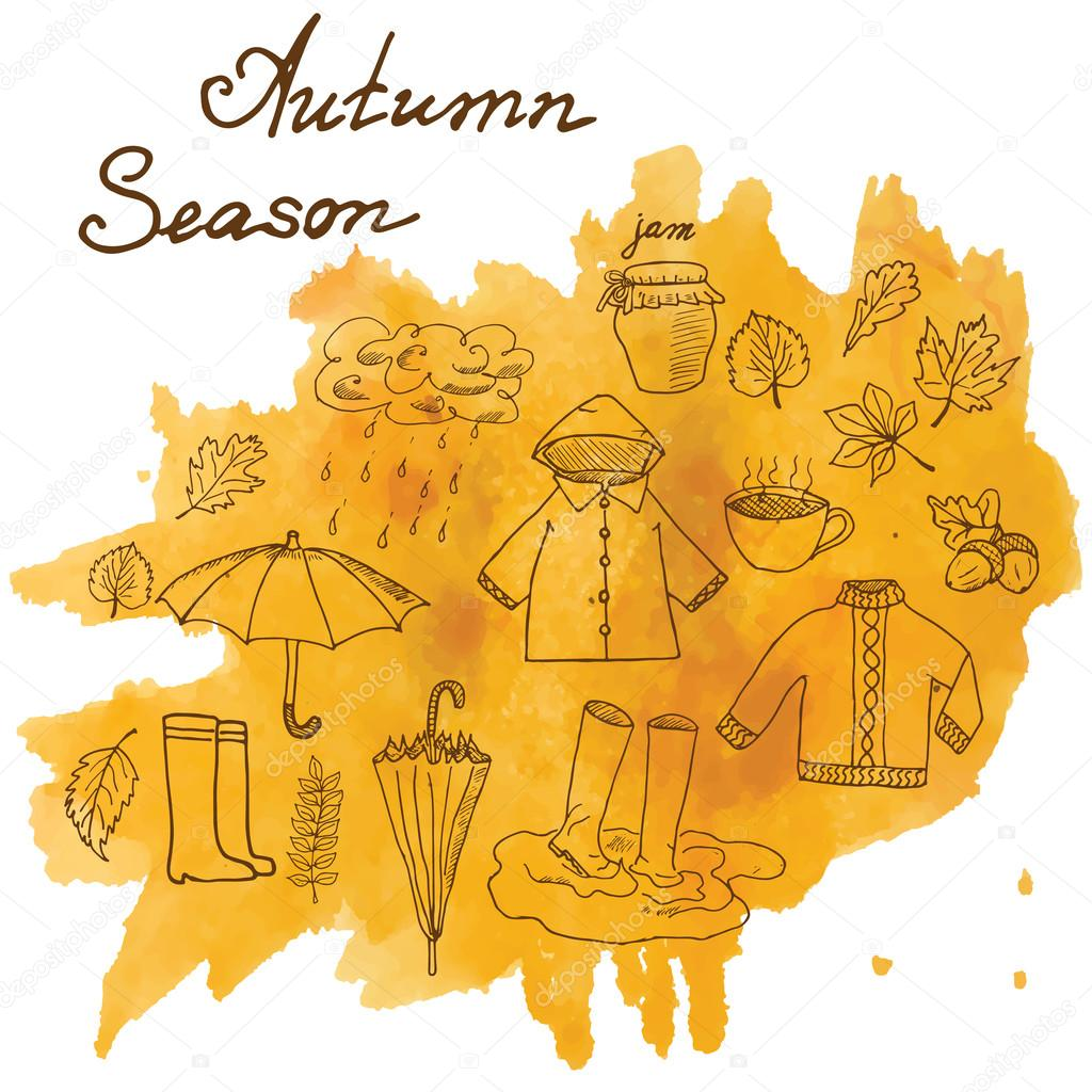 Autumn season set doodles elements. Hand drawn set with umprella cuo of hot tea, rain, rubber boots, clothes and leevs collection. Drawing doodle collection, on on watercolor stain