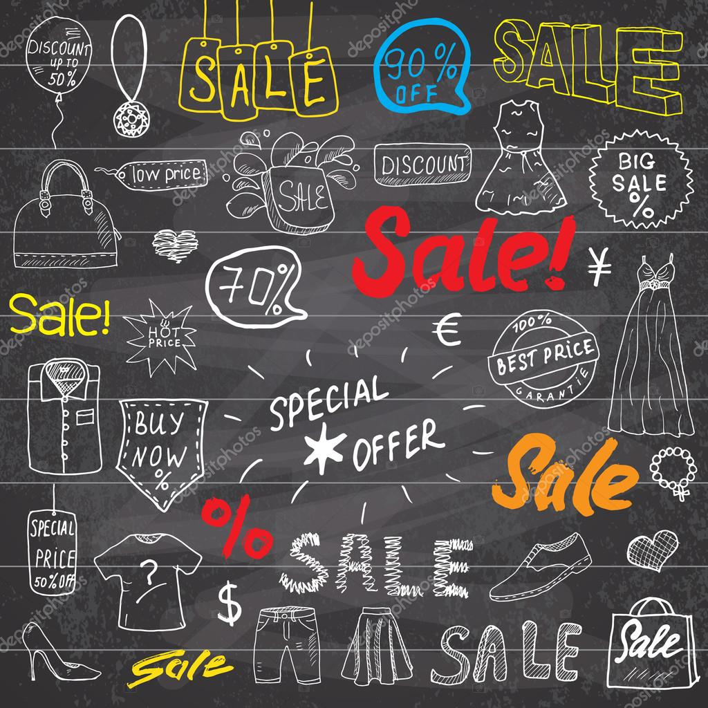 Sale signs and price discount tags shopping associated symbols sale signs and price discount tags shopping associated symbols hand drawn set of biocorpaavc Choice Image
