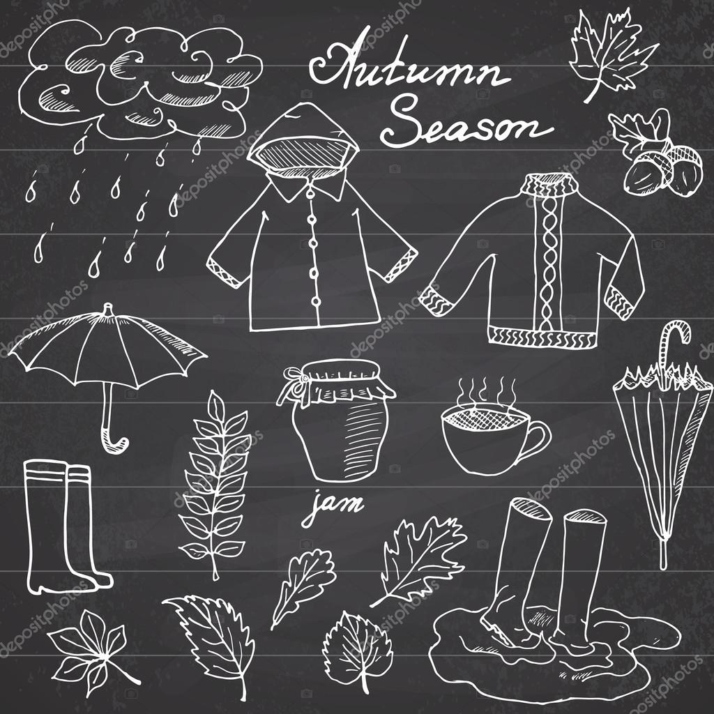 Autumn season set doodles elements. Hand drawn set with umprella cuo of hot tea, rain, rubber boots, clothes and leevs collection. Drawing doodle collection, on chalkboard background