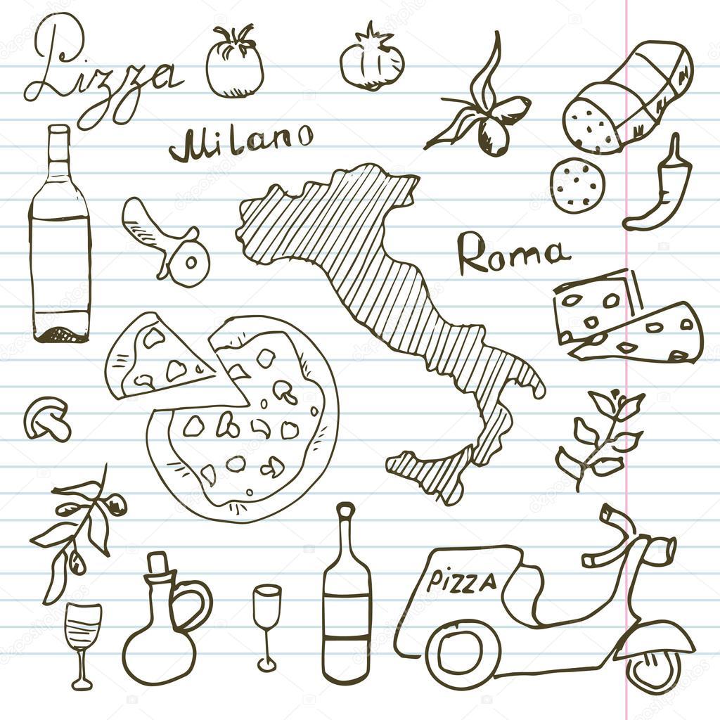 itali 235 doodles elementen getrokken set met pizza