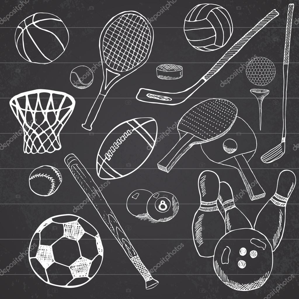 Sportballe Hand Gezeichnete Skizze Mit Baseball Bowling