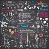 Fotografie Music items doodle icons set. Hand drawn sketch with notes, instruments, microphone, guitar, headphone, drums, music player and music styles lettering signs, vector illustration, chalkboard background