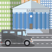 Flat design vector illustration of bank building and parked bulletproof armored truck in flat design style, vector illustration