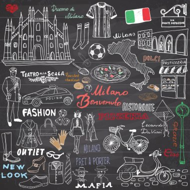 Milan Italy sketch elements. Hand drawn set with Duomo cathedral, flag, map, shoe, fashion items, pizza, shopping street, transport and traditional food. Drawing doodle collection, on chalkboard