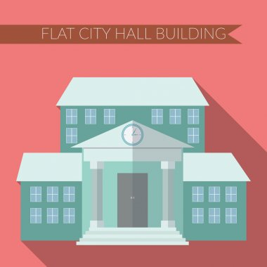 Flat design modern vector illustration of city hall building icon, with long shadow on color background
