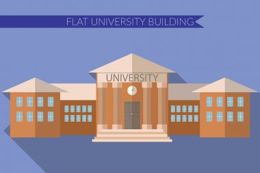 Flat design modern vector illustration of University building icon, with long shadow on color background