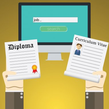 Flat design vector illustration concept for online job Search on computer. Concepts of hands Holding diploma and cv resume