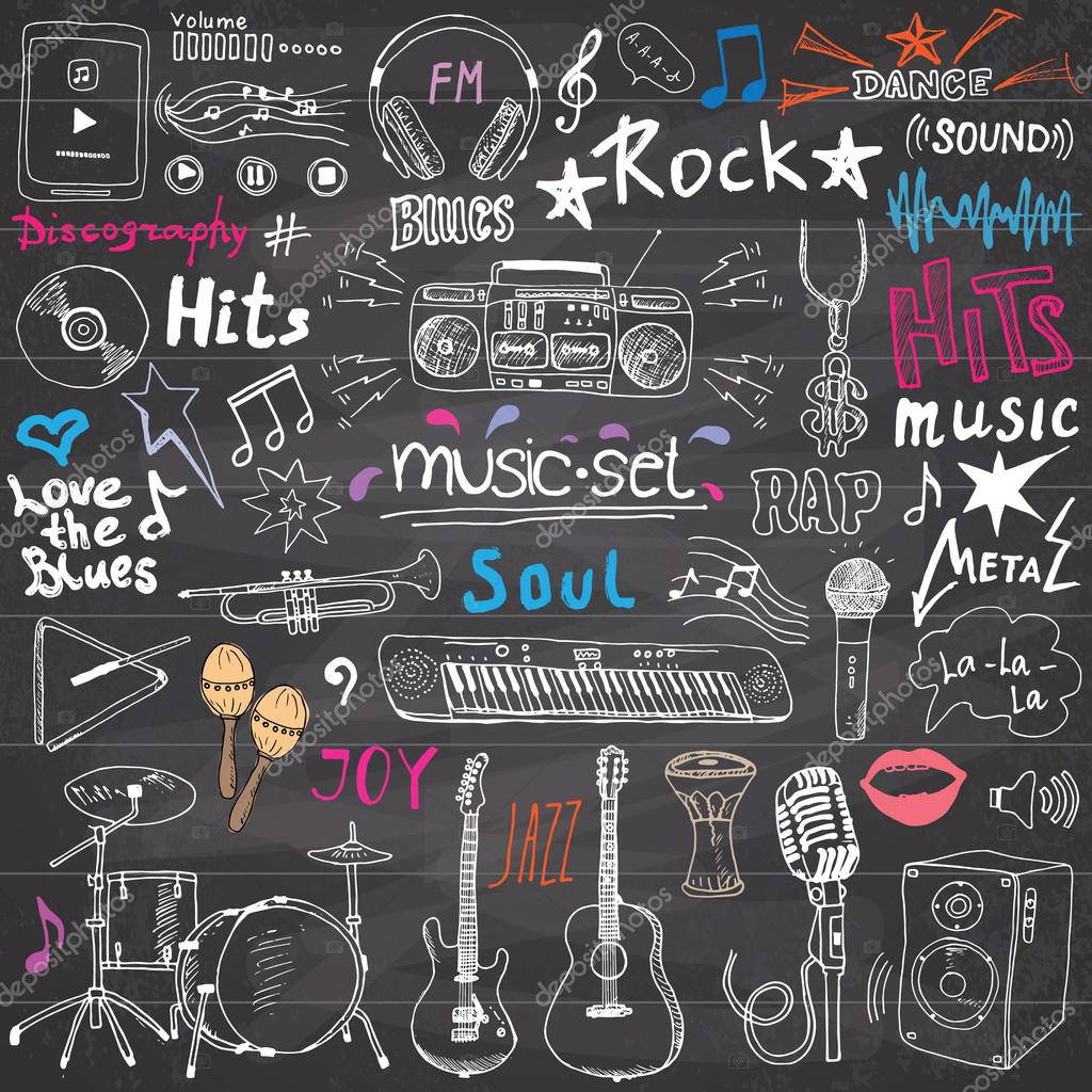 Music Items Doodle Icons Set Hand Drawn Sketch With Notes