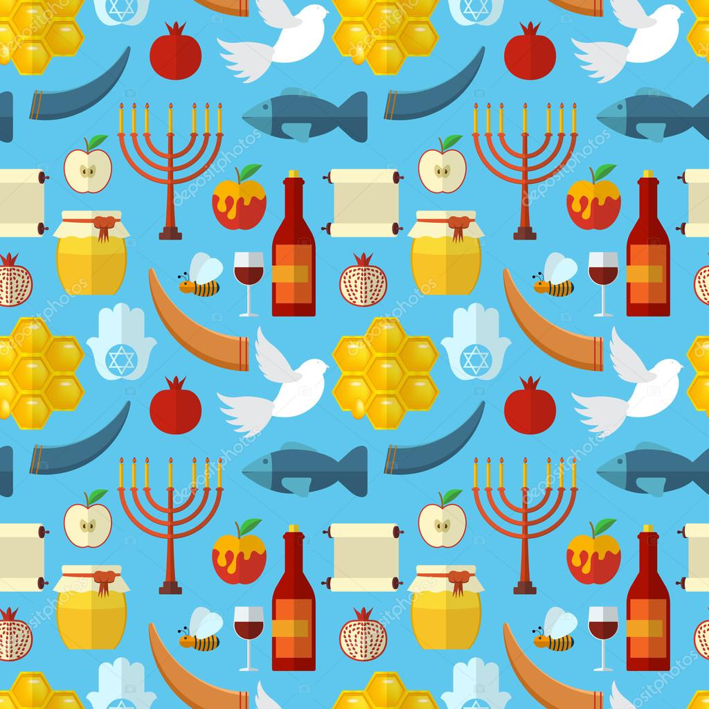 rosh hashanah shana tova or jewish new year seamless pattern with honey apple fish bee bottle torah and other traditional items vector by