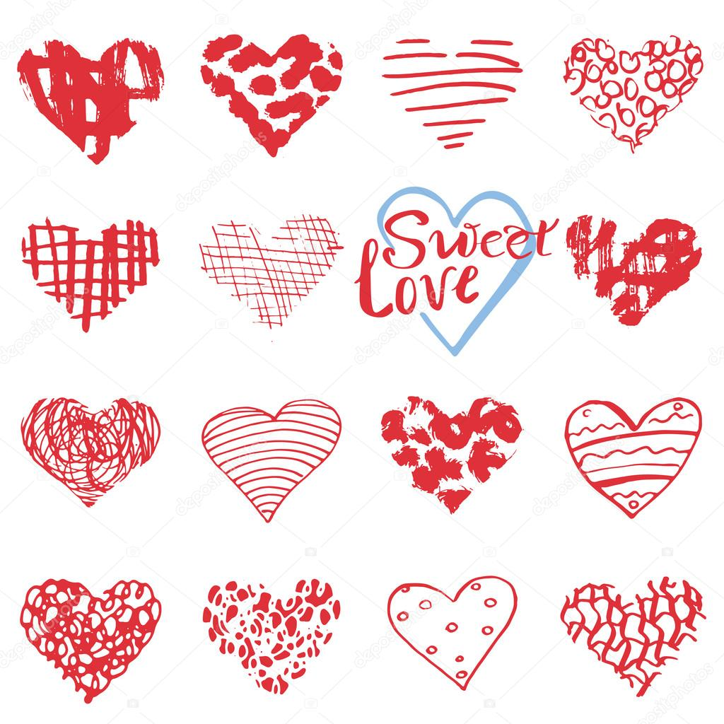 Hand drawn hearts symbols and lettering for valentines day hand drawn hearts symbols and lettering for valentines day sketched doodle elements for wedding invitations biocorpaavc