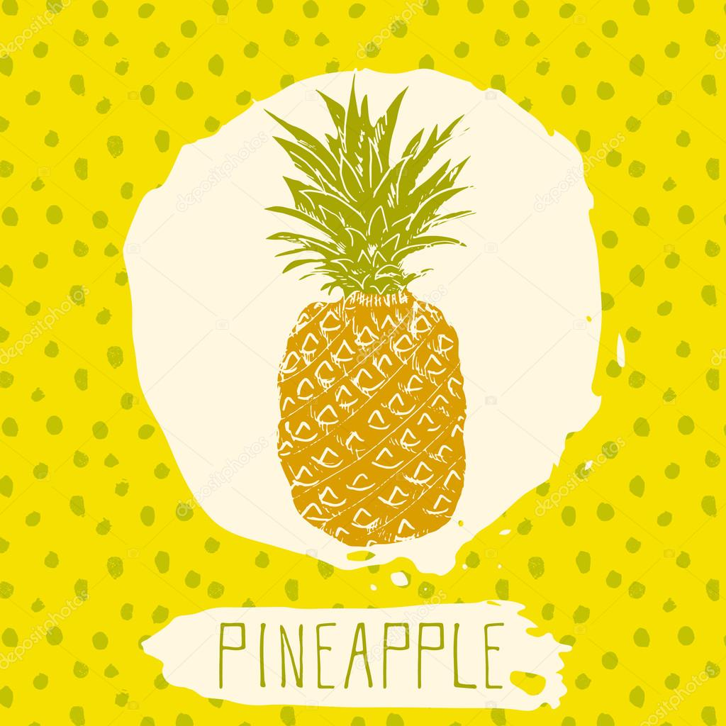Pineapple hand drawn sketched fruit with leaf on blue background with dots pattern. Doodle vector pineapple for logo, label, brand identity.