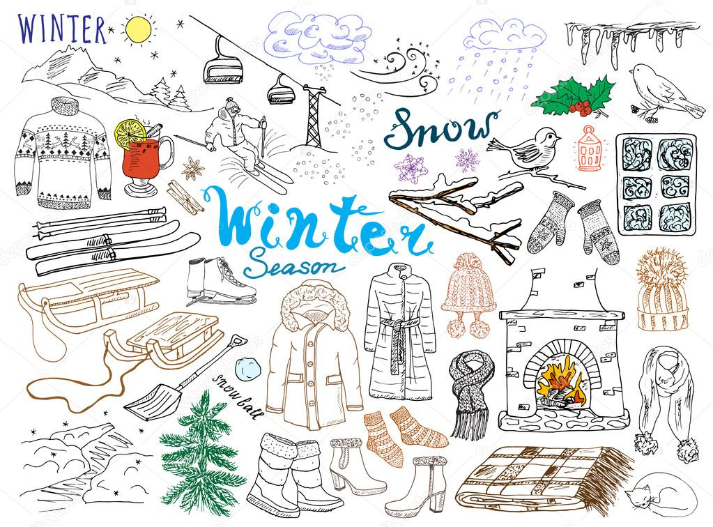 917edd18 Winter season set doodles elements. Hand drawn set with glass hot wine,  boots, clothes, fireplace, mountains, ski ...
