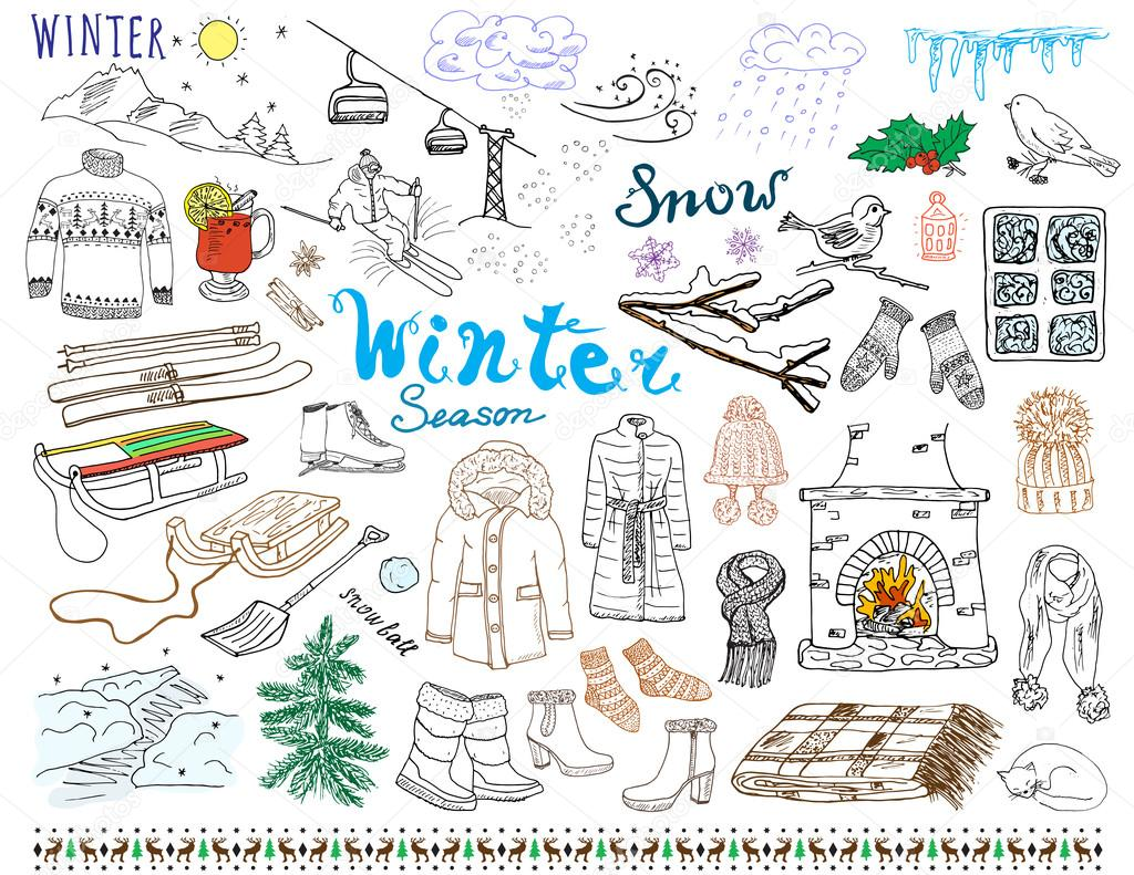 Winter season set doodles elements. Hand drawn set with glass hot wine, boots, clothes, fireplace, mountains, ski and sladge, warm blanket, socks and hats, and lettering words. Drawing set, isolated