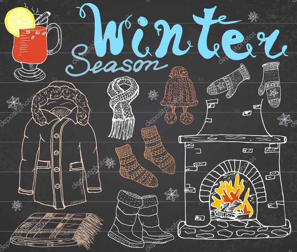 Winter season set doodles elements. Hand drawn set with glass of hot wine, boots, clothes, fireplace, warm blanket, socks and hat, and lettering words. Drawing set on chalkboard