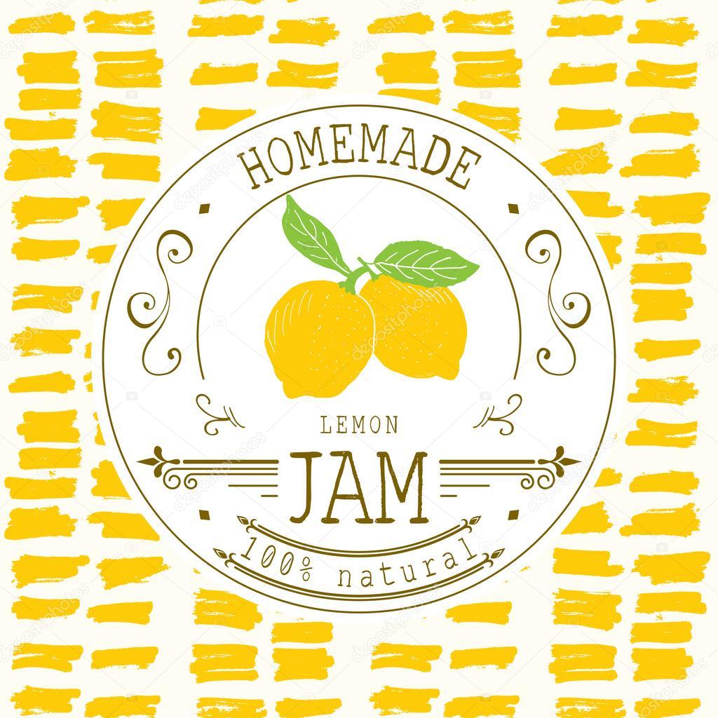 Jam-Label-Design-Vorlage. für Zitronen-Dessertprodukt mit Hand ...