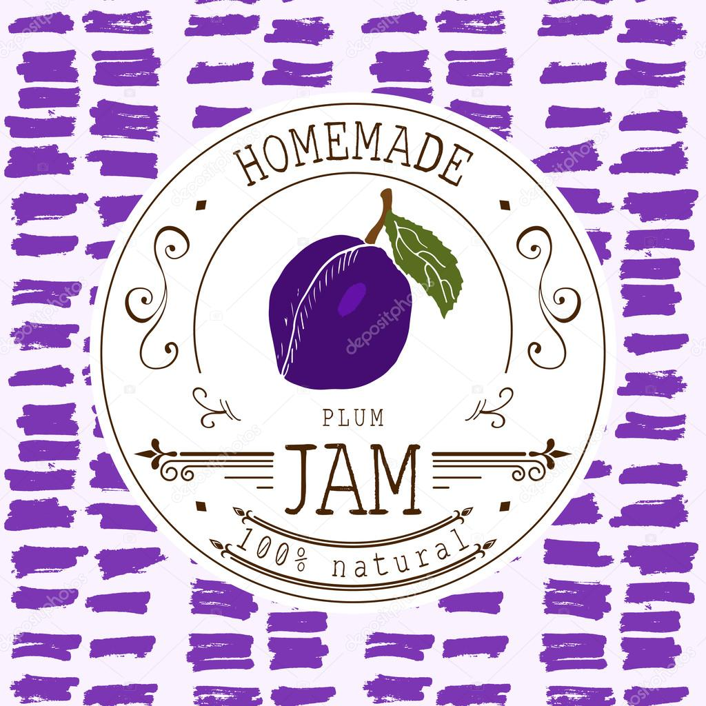 jam label design template for plum dessert product with hand drawn