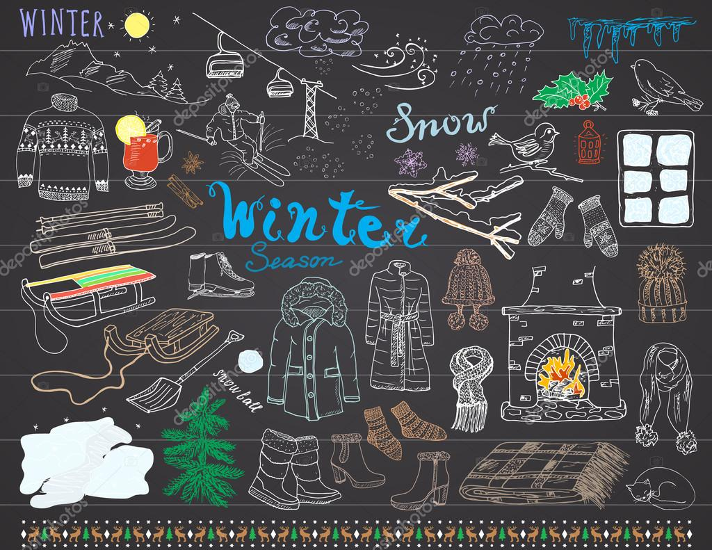 Winter season set doodles elements. Hand drawn set with glass hot wine, boots, clothes, fireplace, mountains, ski and sladge, warm blanket, socks and hats, and lettering words. Drawing set