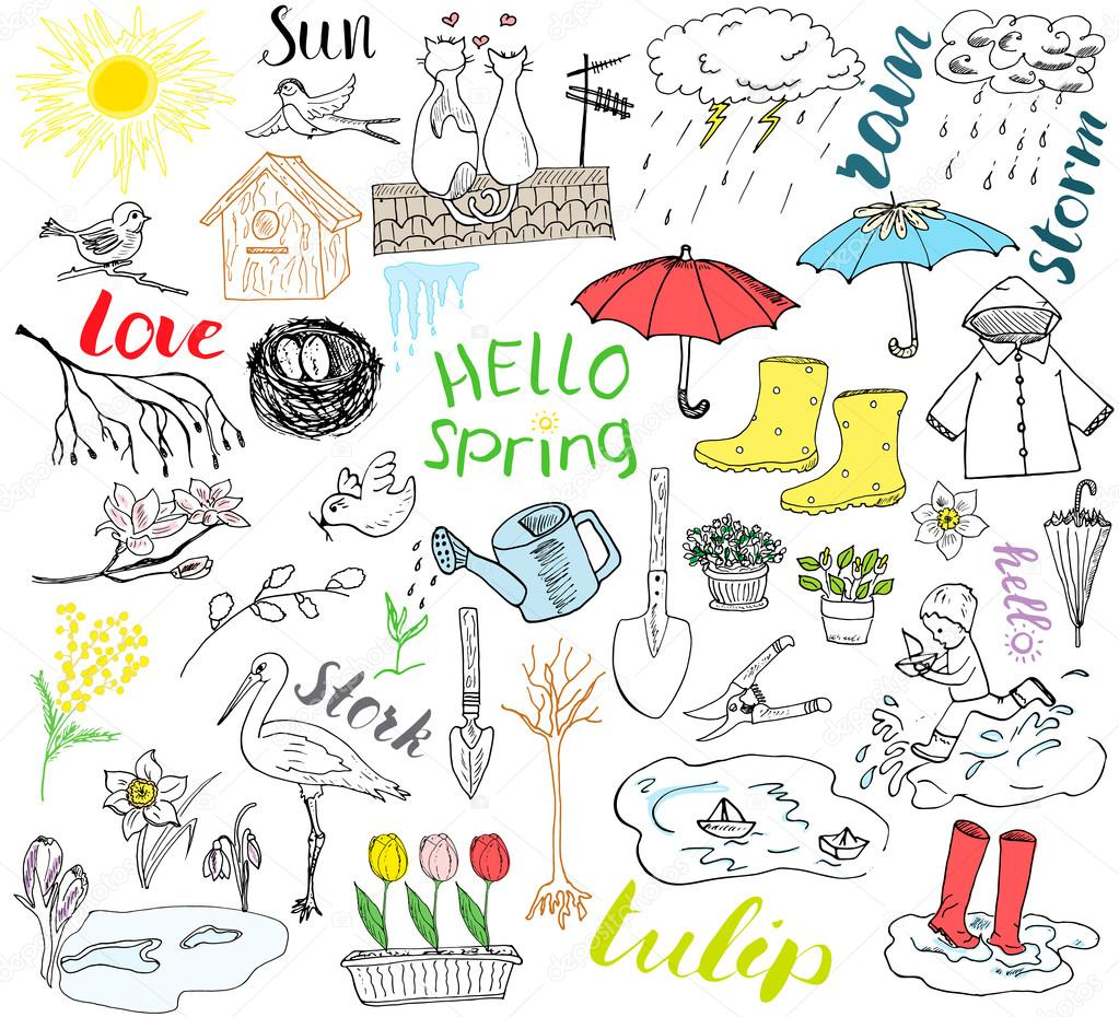 Spring season set doodles elements. Hand drawn sketch set with umbrella, rain, rubber boots, raincoat, flovers, garden tools, nest and birds. Drawing doodle collection, isolated on white background