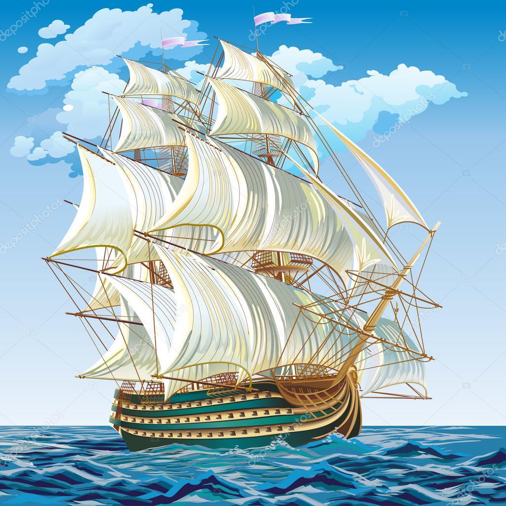Vector ilustración de un velero medieval — Archivo Imágenes ...