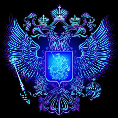 Neon emblem of the Russian Federation.