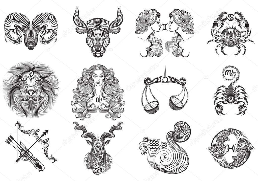 12 signs of the zodiac tattoos.