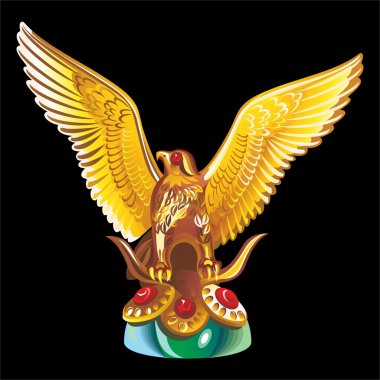 Collection of mascots: golden statue of an eagle