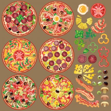 Set of different pizza ingredients. Six types of pizza.